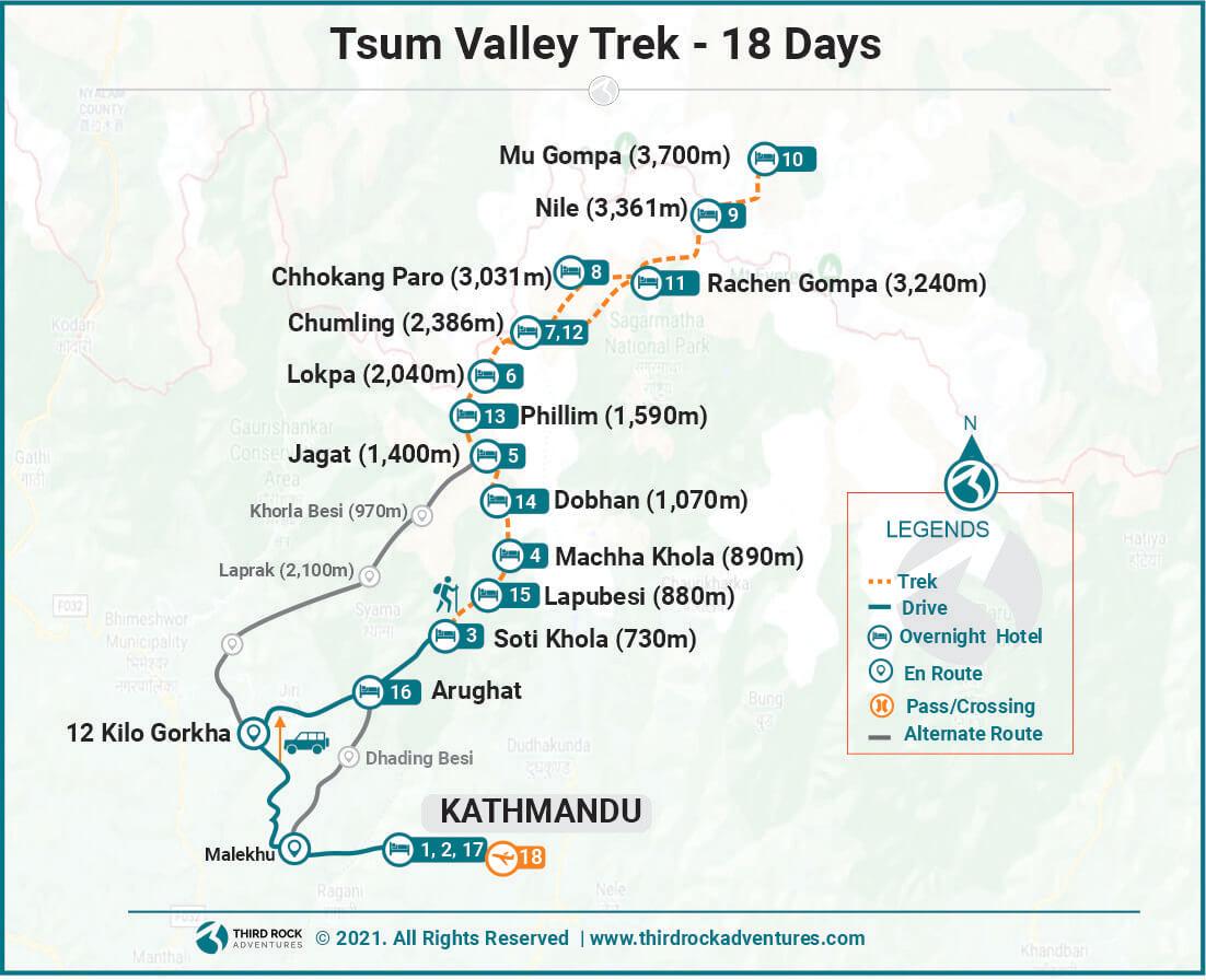 Tsum Valley Trek Route Map
