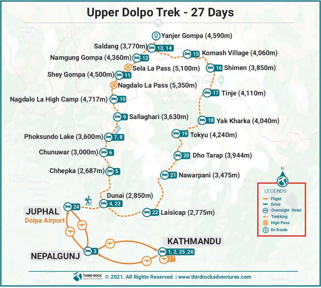 Upper Dolpo Trek Route Map
