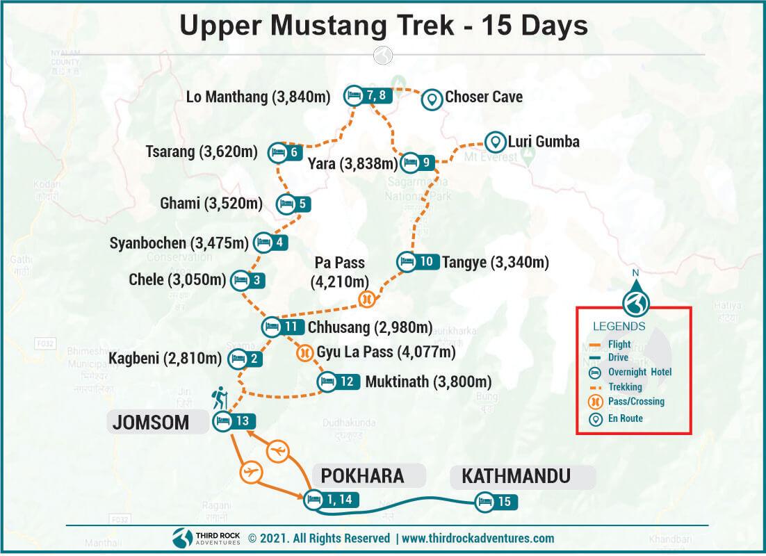 Upper Mustang Trek Route Map