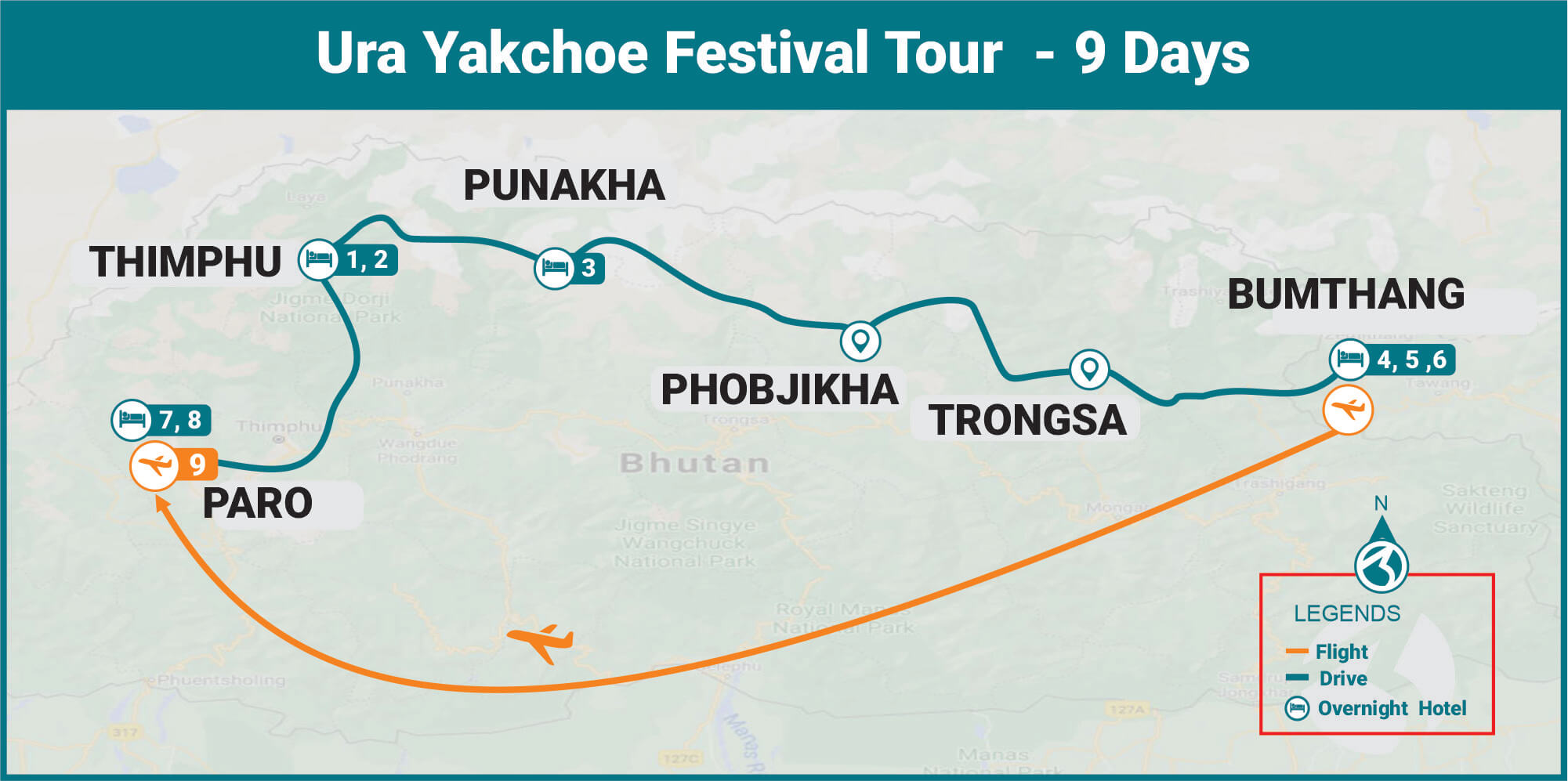 Ura Yakchoe festival Tour 9 Days Route Map