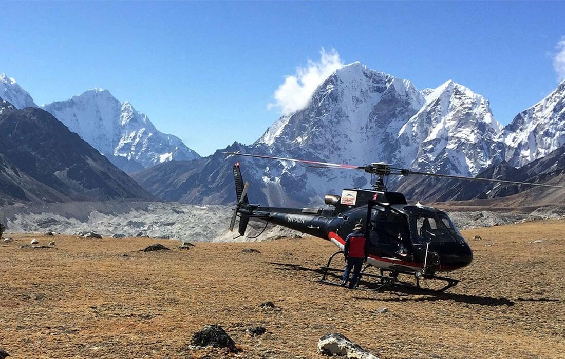 Helicopter Landing at Kala Patthar