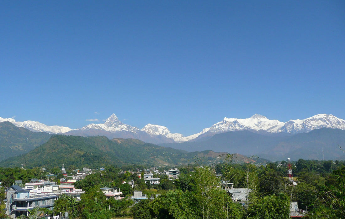 Pokhara City and Fishtail Mountain