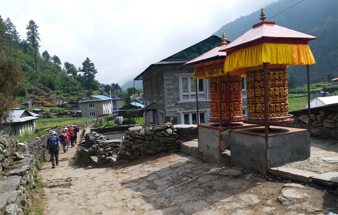 Prayer wheel in phakding