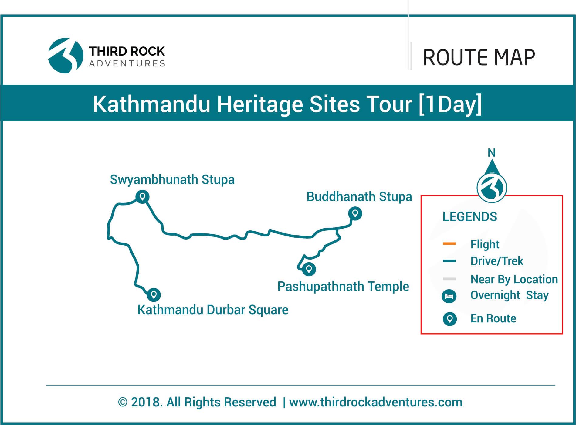 Kathmandu Heritage Tour 1 day Route Map
