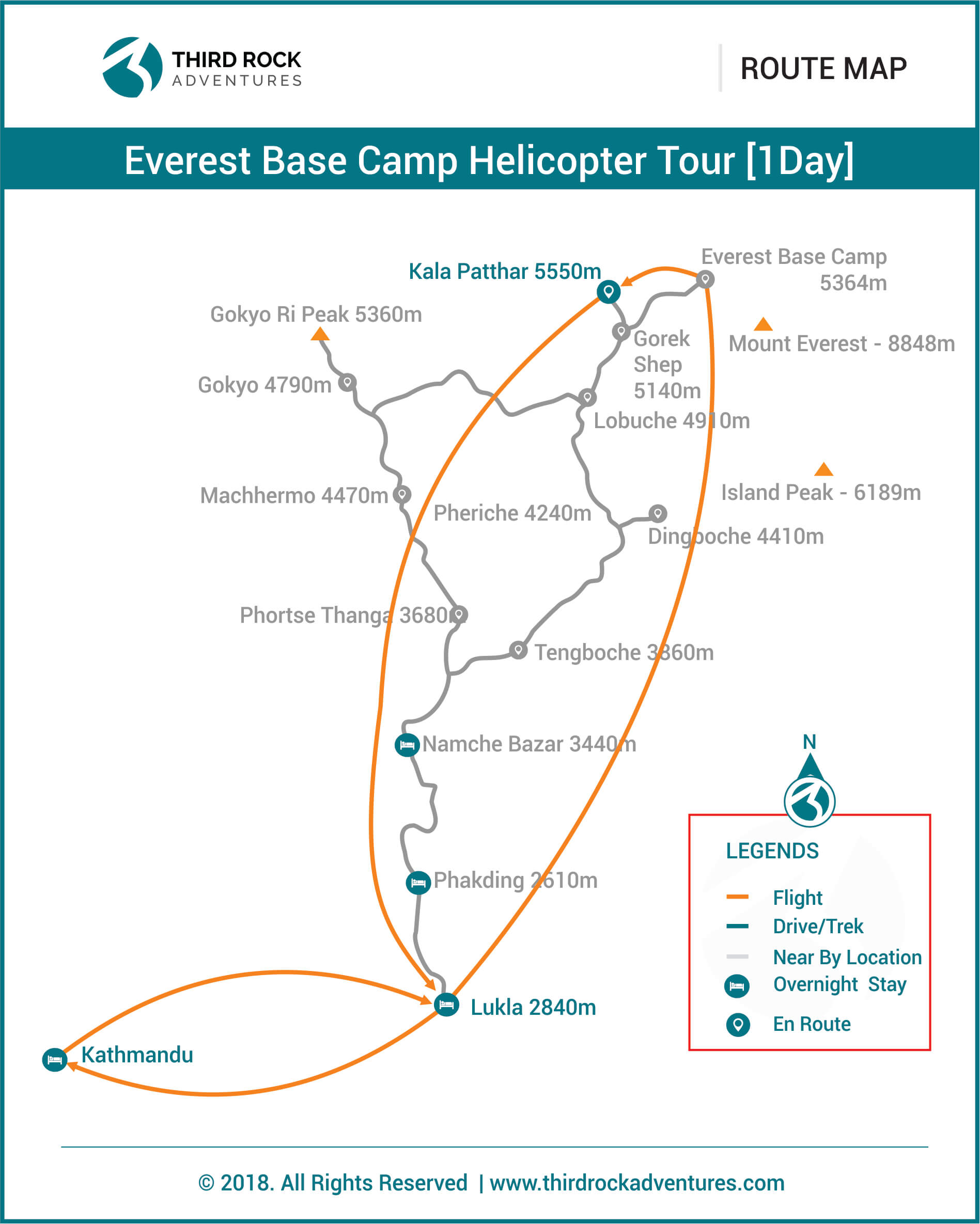 Everest Base Camp Helicopter Tour 1 day Route Map
