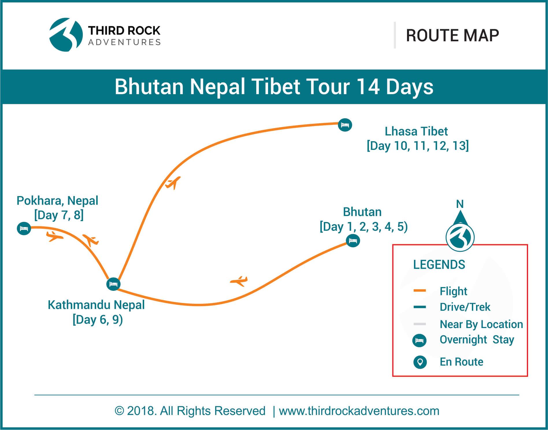 Bhutan Nepal Tibet Tour 14 days Route Map