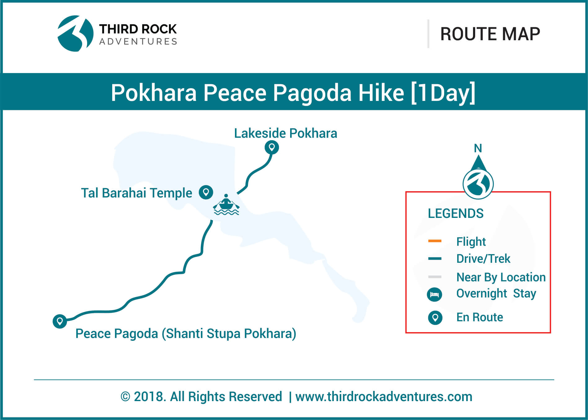 Pokhara Peace Pagoda Hike 1 day Route Map