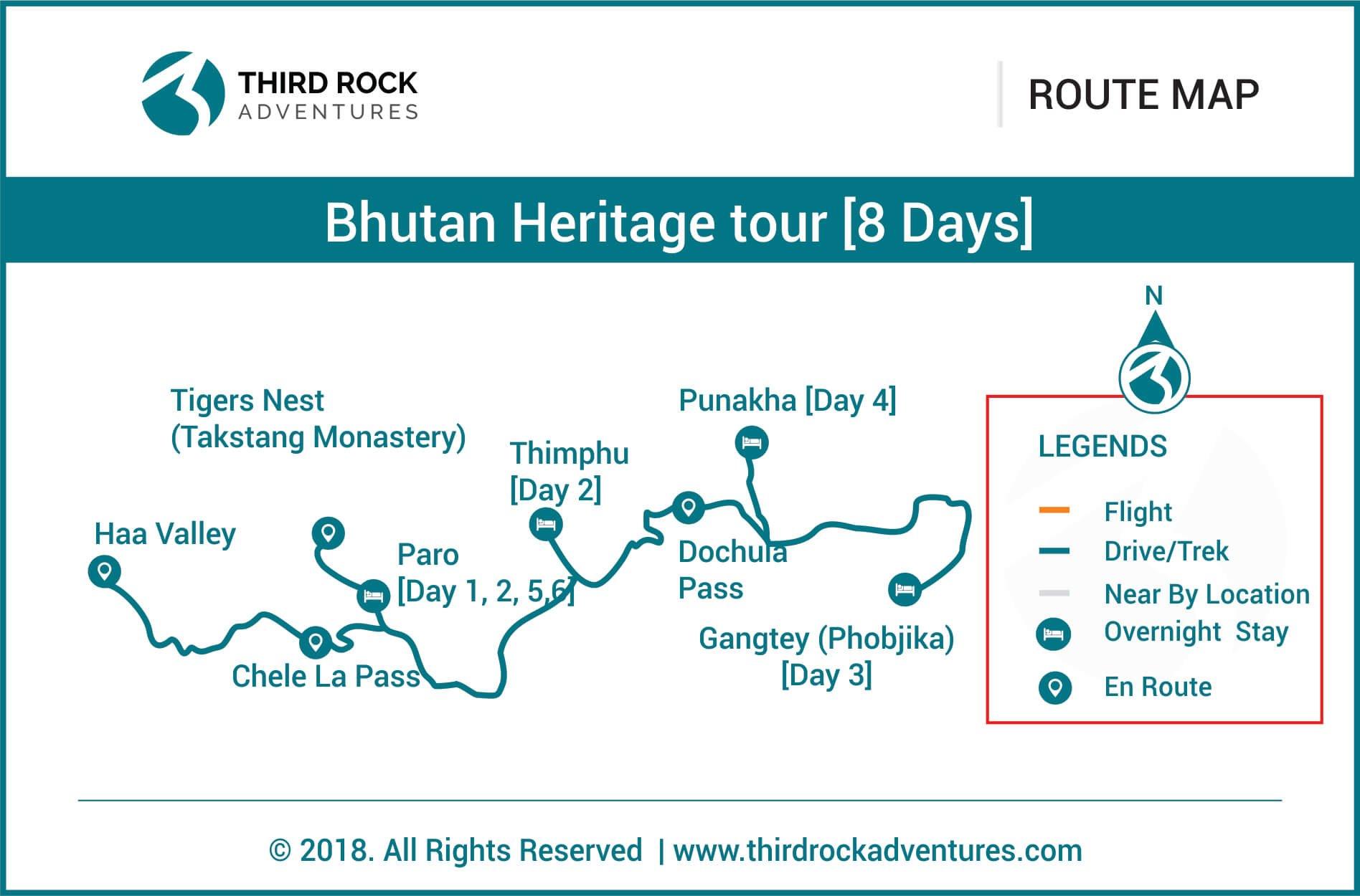 Bhutan Heritage Tour 8 days Route Map