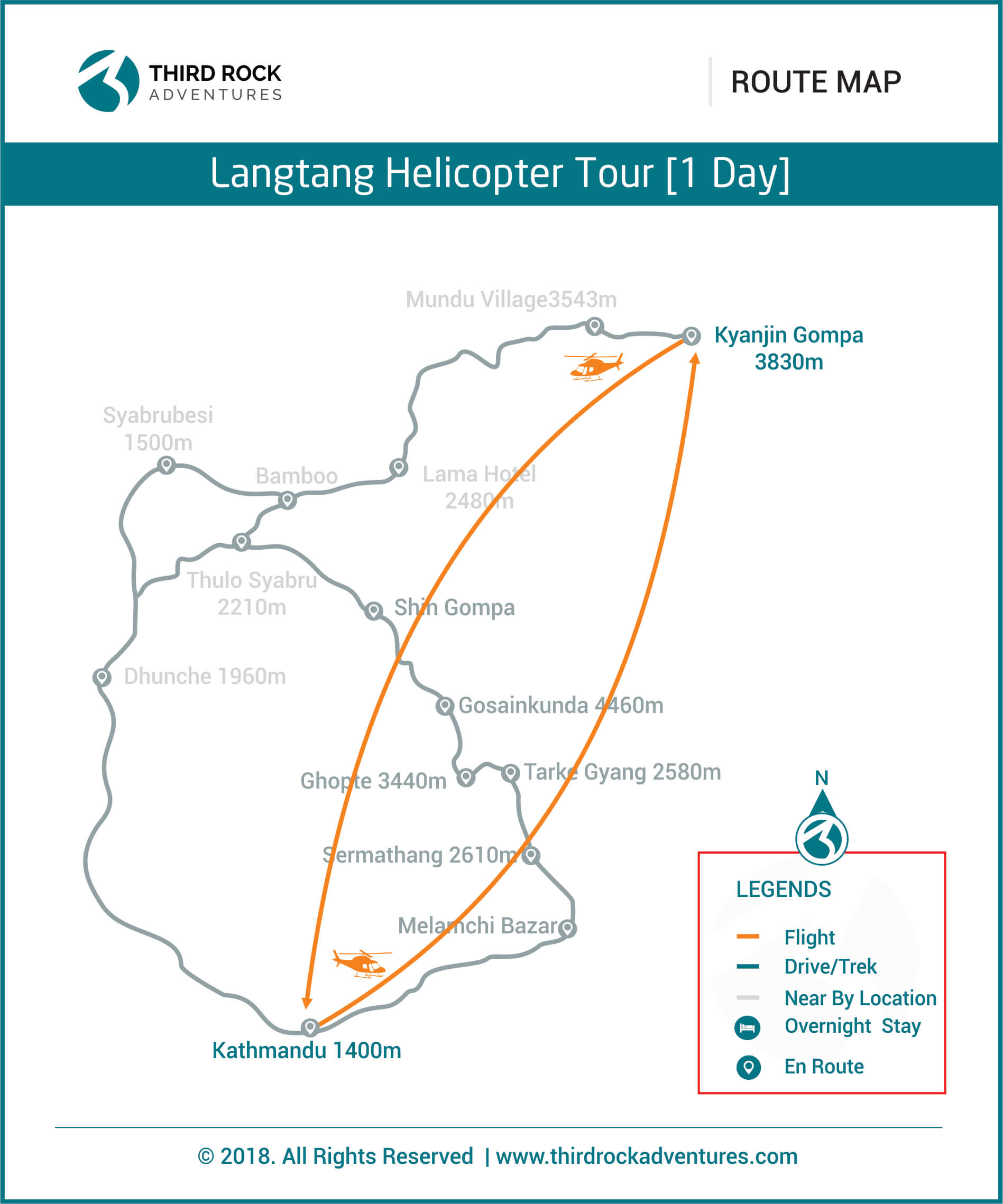 Langtang Helicopter Tour 1 day Route Map