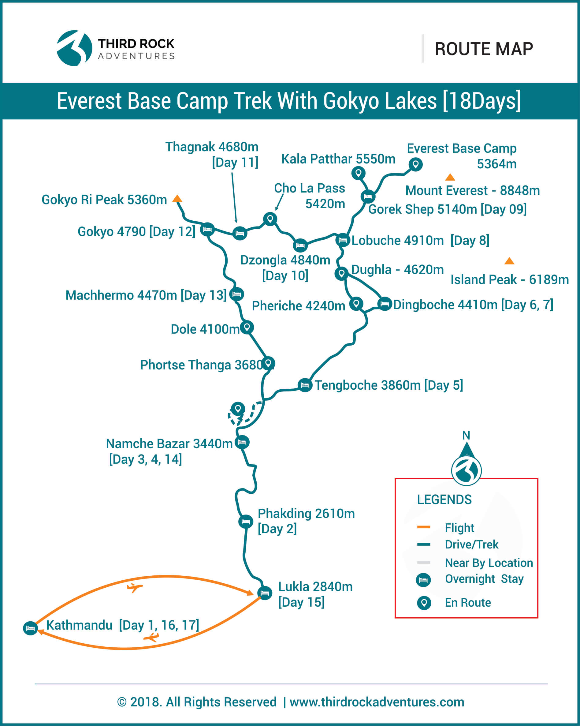 Everest Base Camp Trek With Gokyo Lakes 18 days Route Map