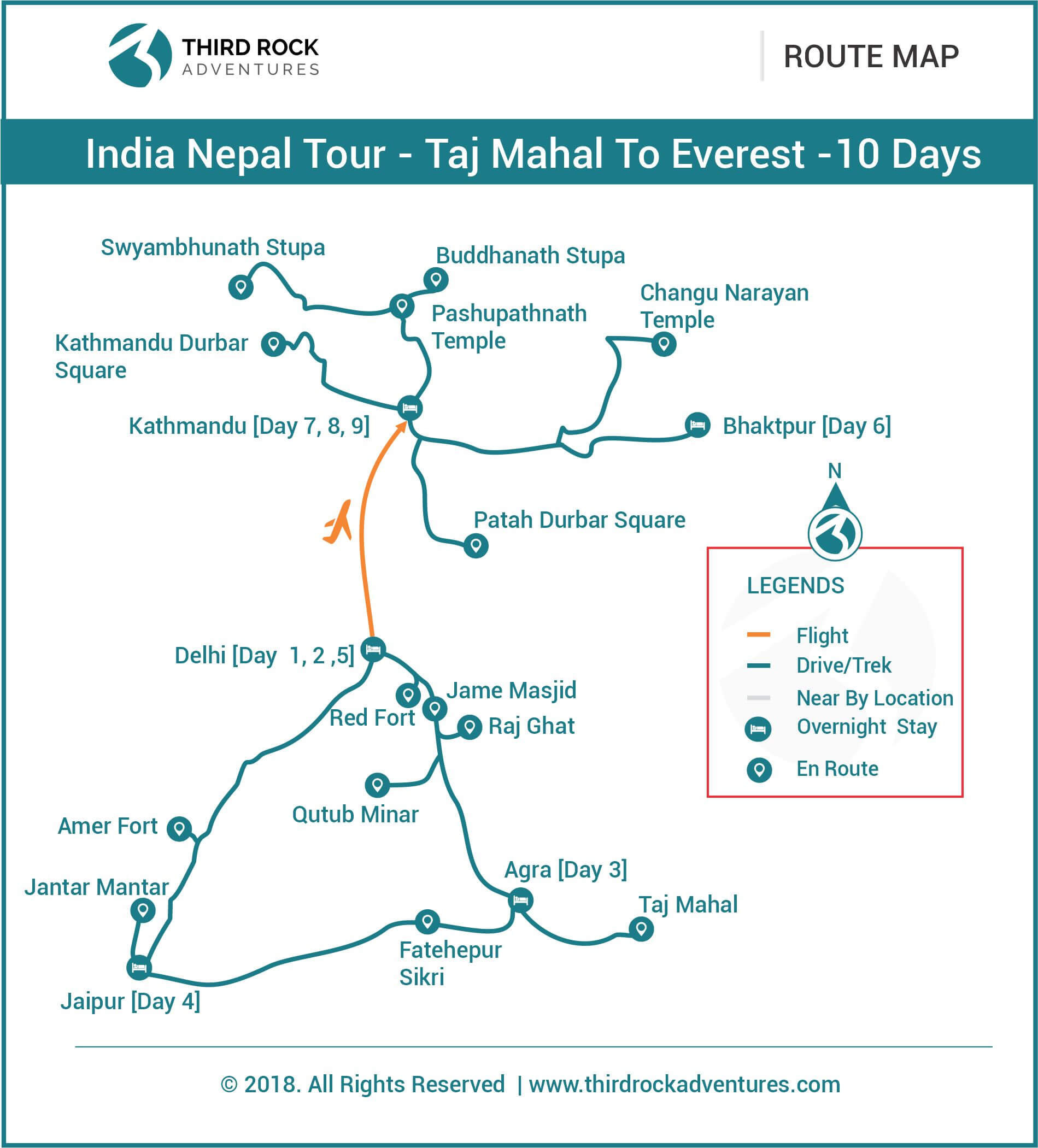 India Nepal Tour Route Map