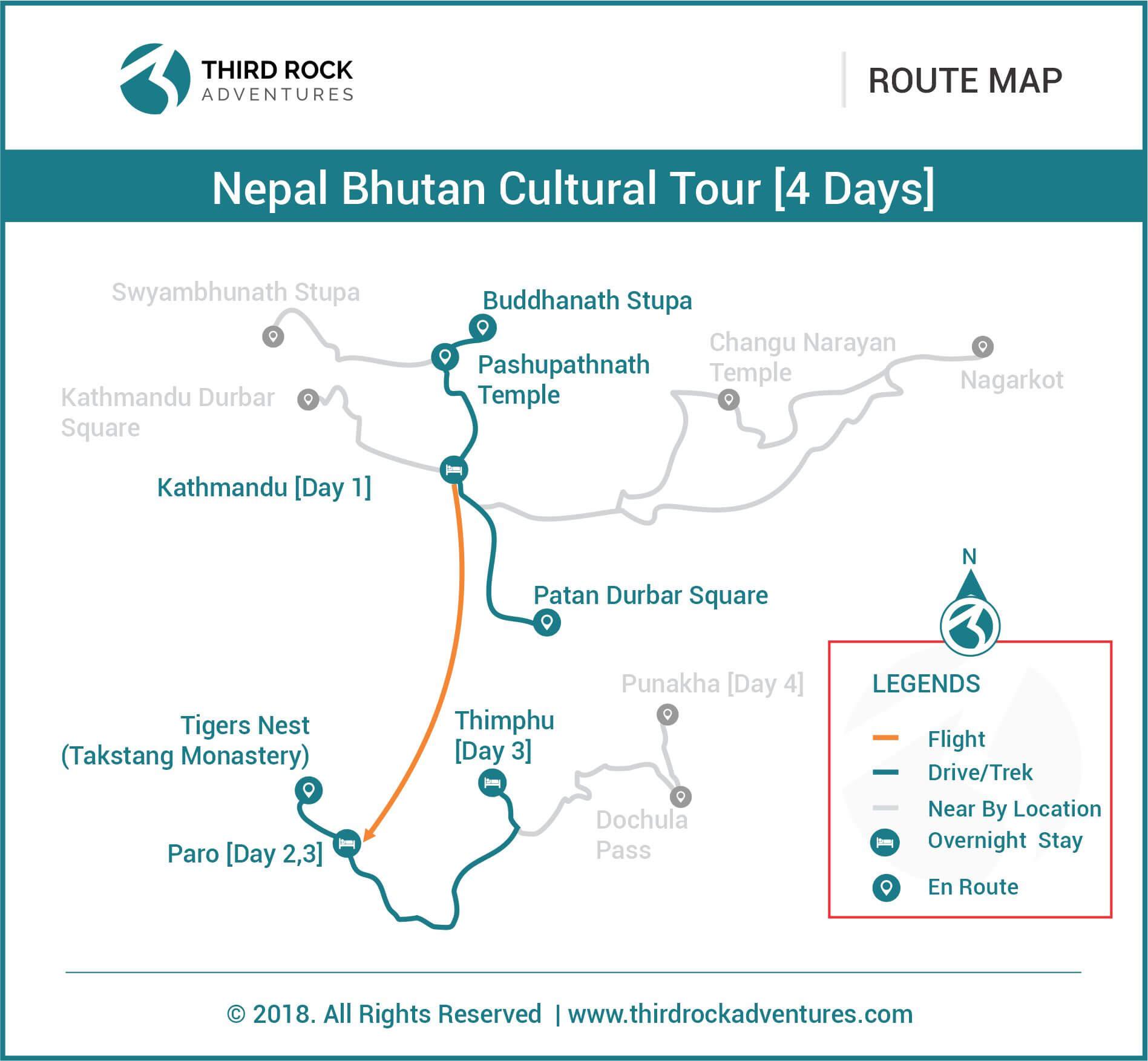 Nepal Bhutan Cultural Tour Route Map