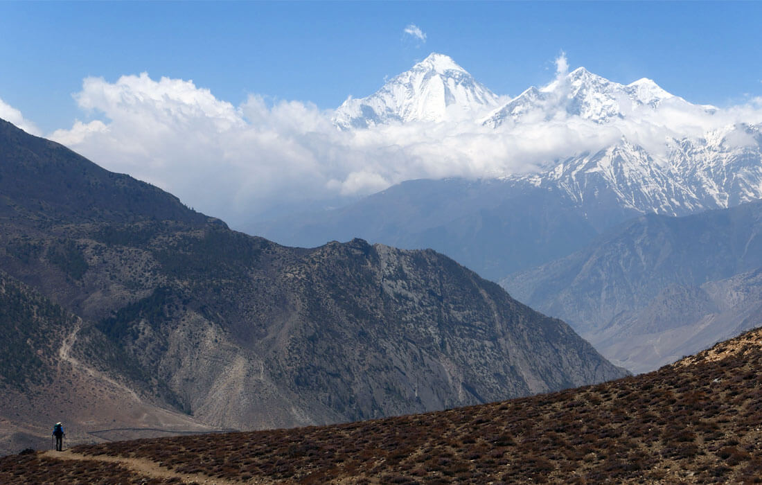 Panoramic View of Mountains from Mustang