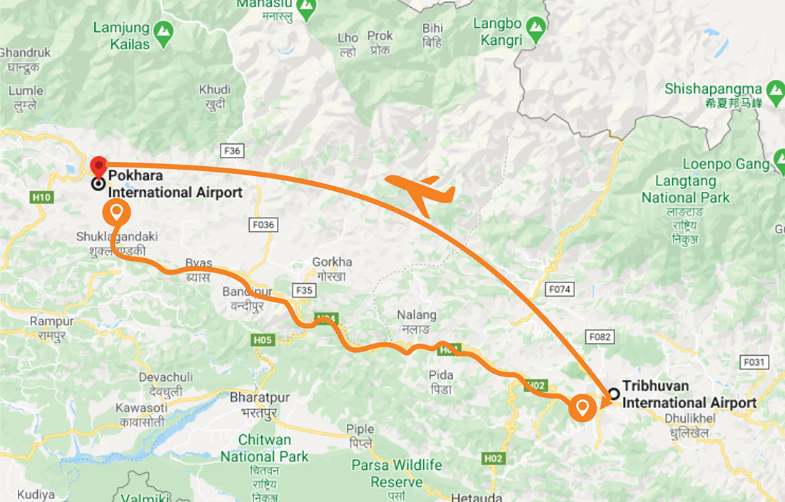 Kathmandu to Pokhara Travel Map